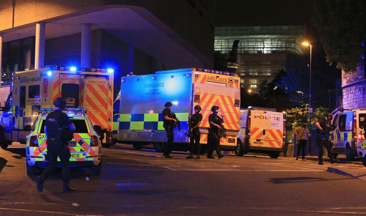BLAST AT ARIANA GRANDE CONCERT IN MANCHESTER, UK; AT LEAST 19 DEAD AND SEVERAL INJURED